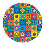 Rainbow Flower Pattern Round Car Magnet