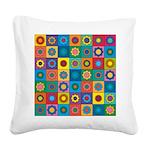 Rainbow Flower Pattern Square Canvas Pillow