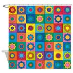 Rainbow Flower Pattern Shower Curtain
