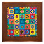 Rainbow Flower Pattern Framed Tile