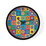 Rainbow Flower Pattern Wall Clock