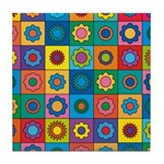 Rainbow Flower Pattern Tile Coaster