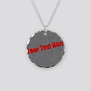 Custom Houndstooth Necklace Circle Charm