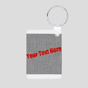 Custom Houndstooth Aluminum Photo Keychain