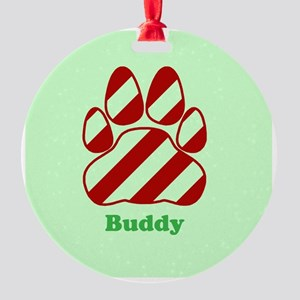 Personalized Candy Cane Striped Paw Print Ornament