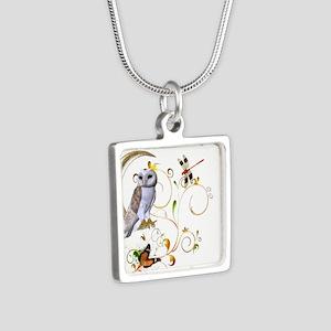 Owl Fantasy Silver Square Necklace
