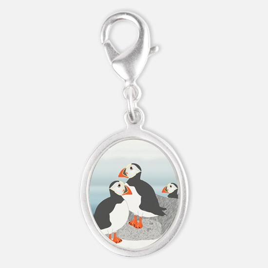 Puffin Silver Oval Charm Charms
