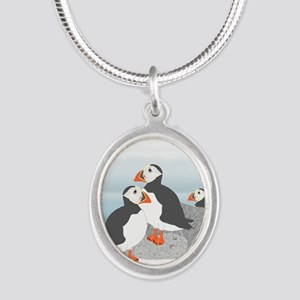 Puffin Silver Oval Necklace Necklaces