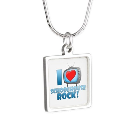 I Heart Schoolhouse Rock Silver Square Necklace