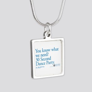 30 Second Dance Party Quote Silver Square Necklace