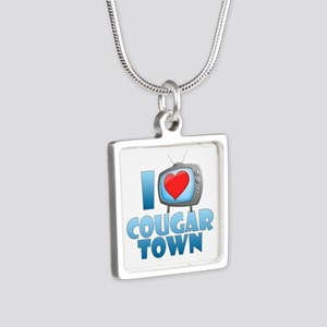I Heart Cougar Town Silver Square Necklace
