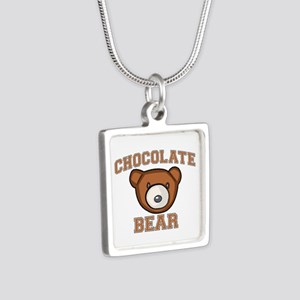 Chocolate Bear Silver Square Necklace