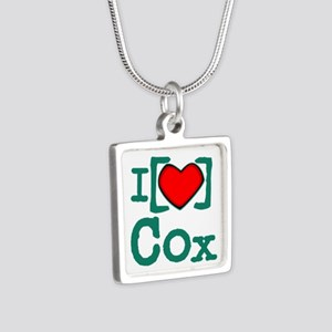 I Heart Cox Silver Square Necklace