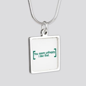 You Seem Unhappy Silver Square Necklace
