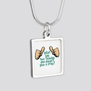 Two Thumbs Silver Square Necklace