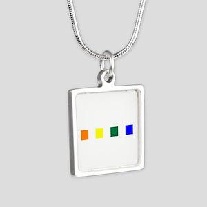 Rainbow Pride Squares Silver Square Necklace