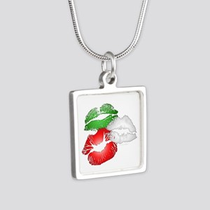 Italian Kissing Lips Silver Square Necklace