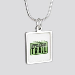 Hiking the Appalachian Trail Silver Square Necklac