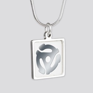 Silver 45 RPM Adapter Silver Square Necklace