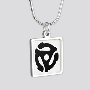 Black 45 RPM Adapter Silver Square Necklace