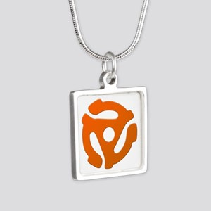 Orange 45 RPM Adapter Silver Square Necklace