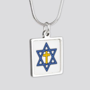 Star of David with Cross Silver Square Necklace