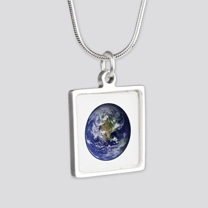 Western Earth from Space Silver Square Necklace