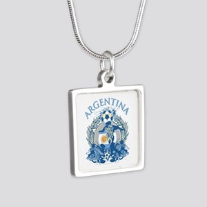 Argentina Soccer Silver Square Necklace