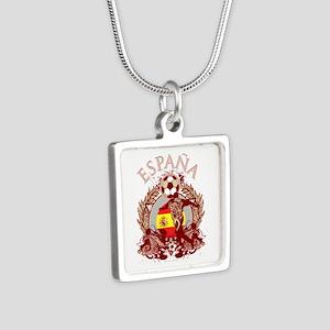 Espana Soccer Silver Square Necklace