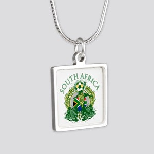 South Africa Soccer Silver Square Necklace