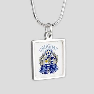 Uruguay Soccer Silver Square Necklace