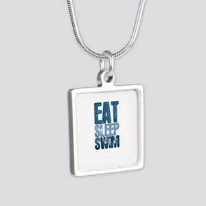 EAT SLEEP SWIM Silver Square Necklace