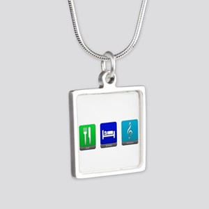Eat, Sleep, Music Silver Square Necklace