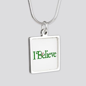 I Believe with Santa Hat Silver Square Necklace