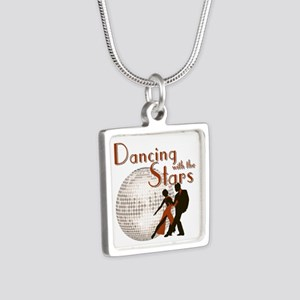 Retro Dancing with the Stars Silver Square Necklac