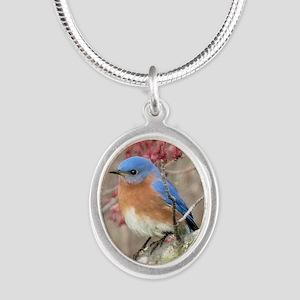 Eastern Bluebird Silver Oval Necklace
