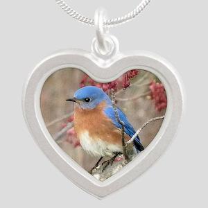 Eastern Bluebird Silver Heart Necklace