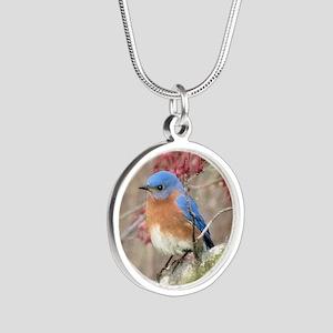 Eastern Bluebird Silver Round Necklace