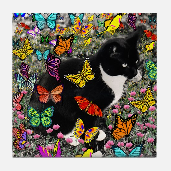 Freckles in Butterflies Tile Coaster