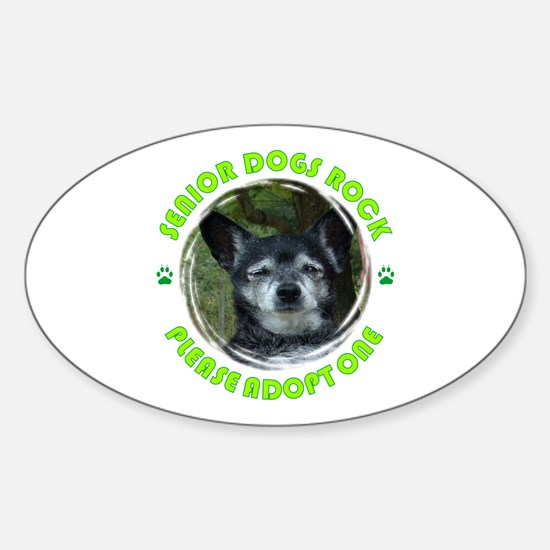 Adopt A Senior Dog Sticker (Oval)
