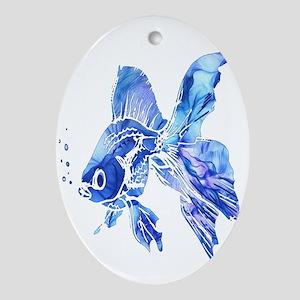Blue Watercolor Goldfish Oval Ornament