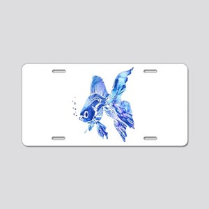 Blue Watercolor Goldfish Aluminum License Plate