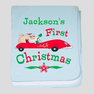 Custom 1st Christmas baby blanket