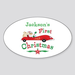Custom 1st Christmas Sticker (Oval)