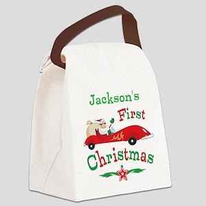 Custom 1st Christmas Canvas Lunch Bag