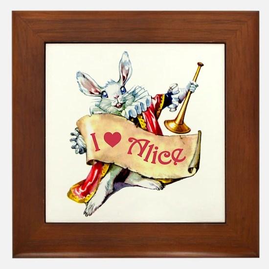 Alice's White Rabbit Framed Tile