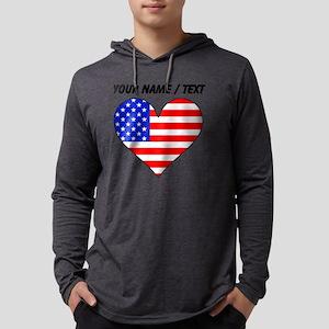 Custom United States Flag Heart Mens Hooded Shirt