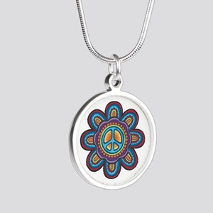 Hippie Peace Flower Silver Round Necklace
