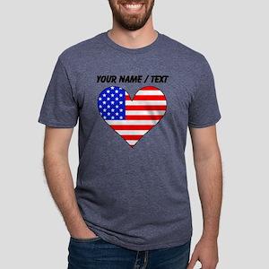 Custom United States Flag H Mens Tri-blend T-Shirt
