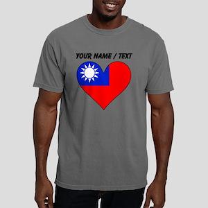 Custom Taiwan Flag Heart Mens Comfort Colors Shirt